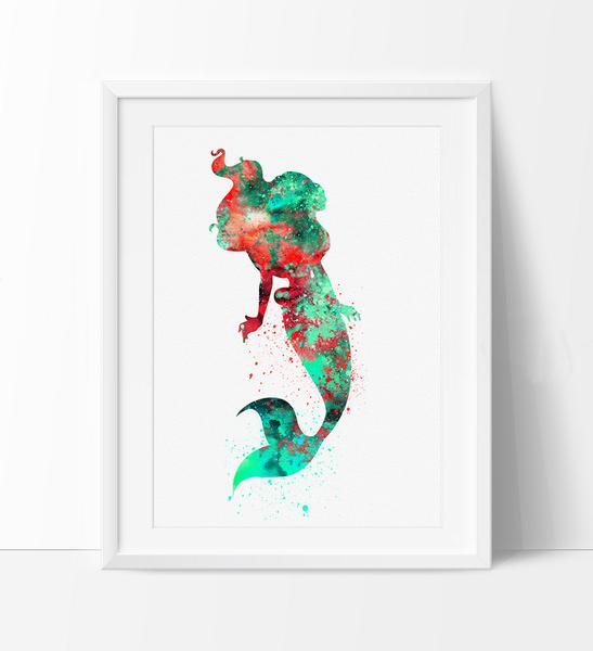 547x600 Ariel Watercolor Print, Disney Art, Mermaid Print Watercolor Art