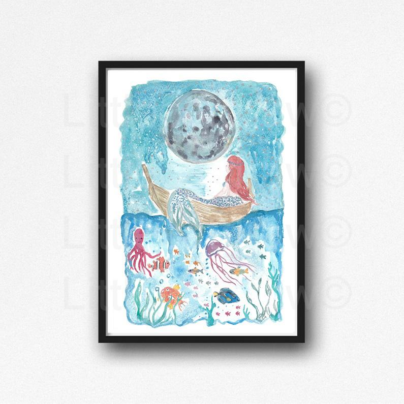 795x795 Buy Little Mermaid Under The Starry Night Watercolor Painting