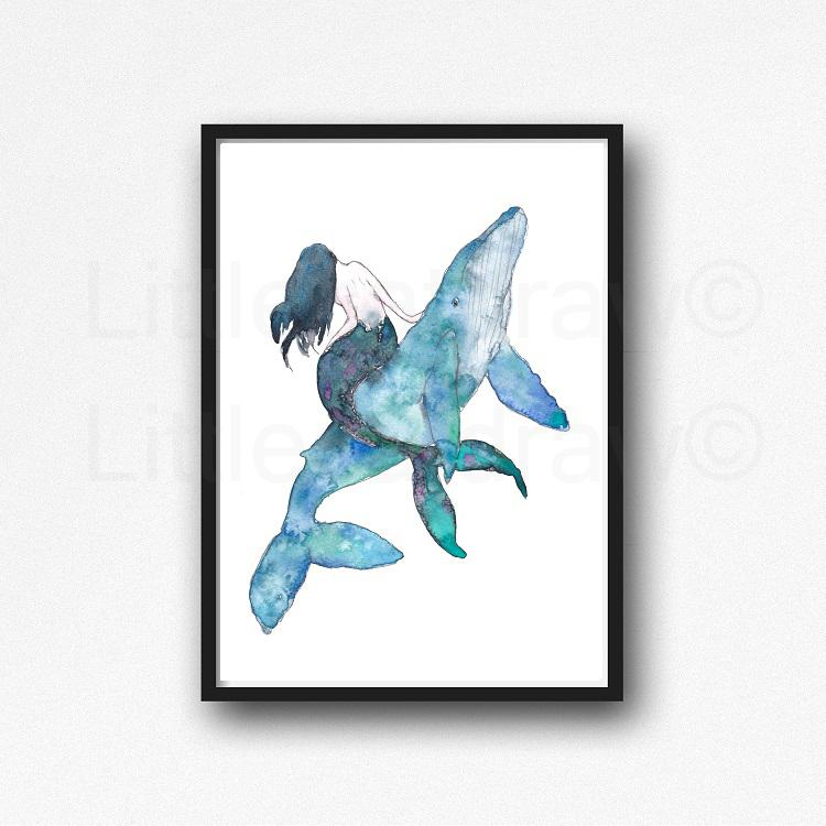 750x750 Buy Mermaid And The Whale Watercolor Painting Humpback Whale Print