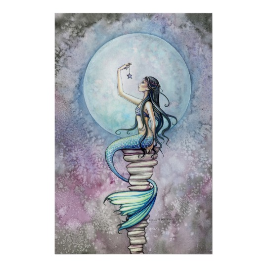 540x540 Magic Mermaid Watercolor Poster By Molly Harrison Zazzle.ca