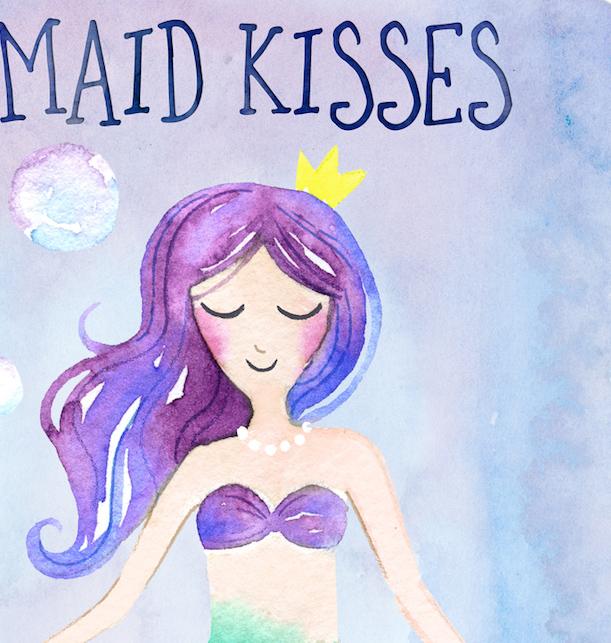 611x643 Mermaid Watercolor Childrens Nursery Room Print, Mermaid Kisses