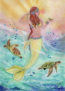 214x300 Mermaid Watercolor Paintings Fine Art America