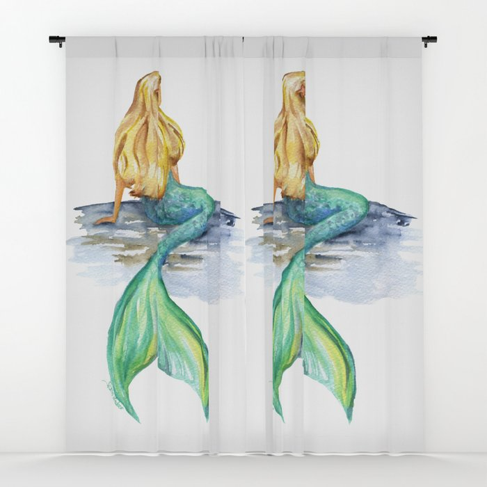 700x700 Mermaid Watercolor Window Curtains By Susanwindsor Society6