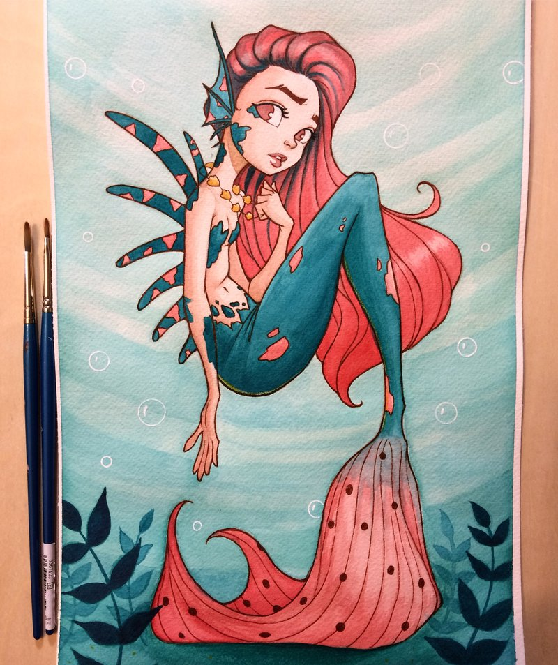 800x953 Mermaid Watercolor By Chrissiezullo