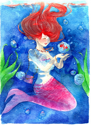 320x447 Mermaid And Her Fish Friends. ) Another Old Painting