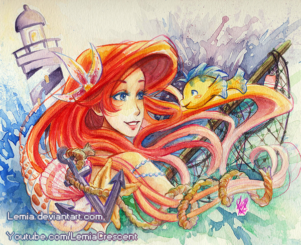 600x489 The Little Mermaid Nautical Watercolor Painting By Lemiacrescent