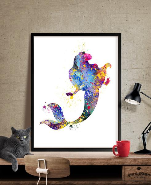 491x600 Ariel Mermaid Watercolor Illustrations Disney Art Print Wall Art
