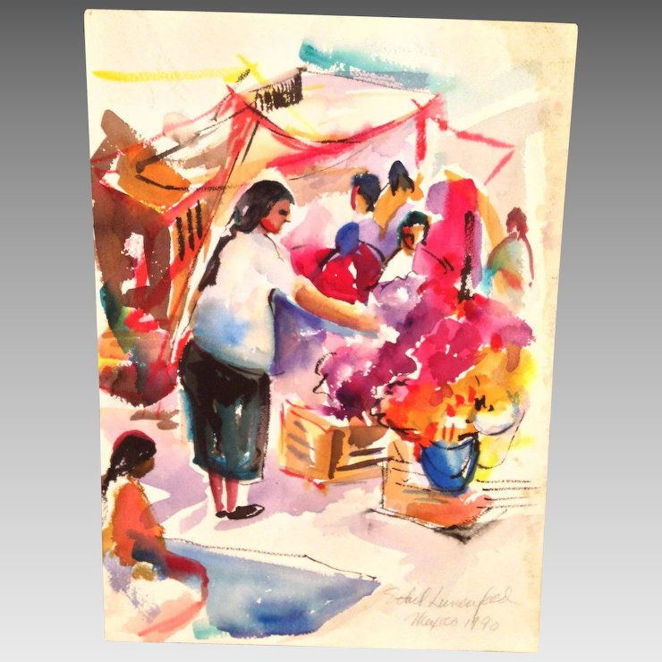 740x740 Mexican Market Watercolor Painting Signed By Ethel Lunenfeld