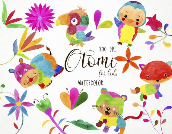570x446 Mexican Otomi Clipart Mexican Watercolor Floral Clip Art Etsy