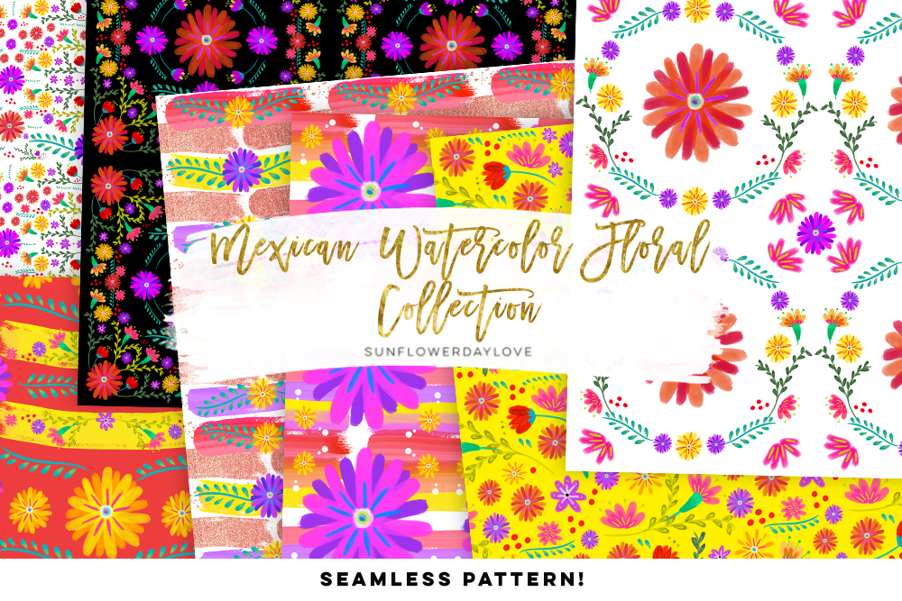 1000x667 Mexican Watercolor Floral Digital Pattern By Sunflower Day Love