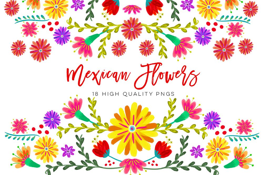 1000x666 Mexican Watercolor Floral Clipart, Flowers Fiesta Clip Art