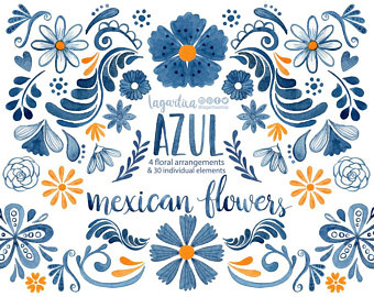 340x270 Mexican Watercolor Floral Clipart Png Mexican Party Etsy