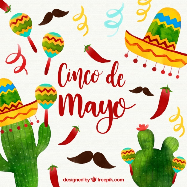626x626 Cinco De Mayo Background With Mexican Elements In Watercolor Style