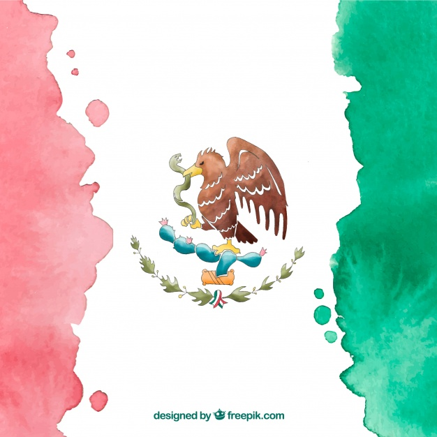 626x626 Watercolor Mexican Flag Background Vector Free Download