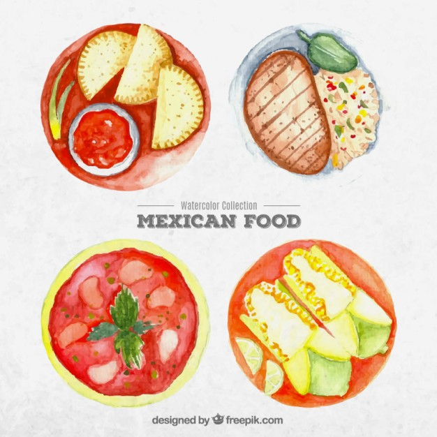 626x626 Watercolor Mexican Food Dishes Vector Free Download