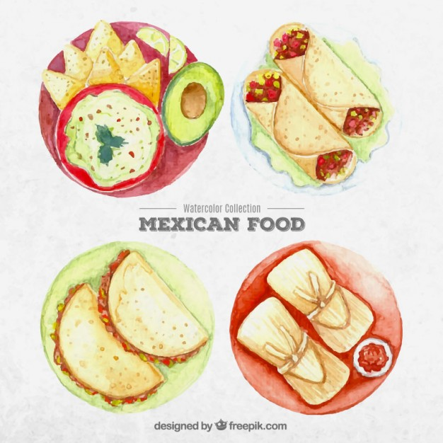 626x626 Watercolor Traditional Mexican Dishes Vector Free Download