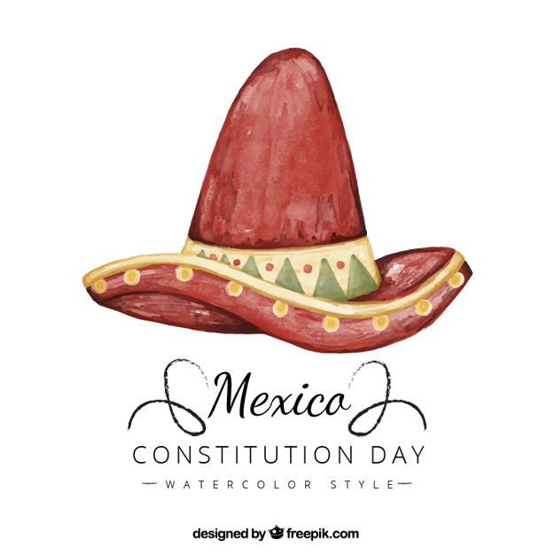 626x626 Constitution Day Background With Mexican Watercolor Hat Stock