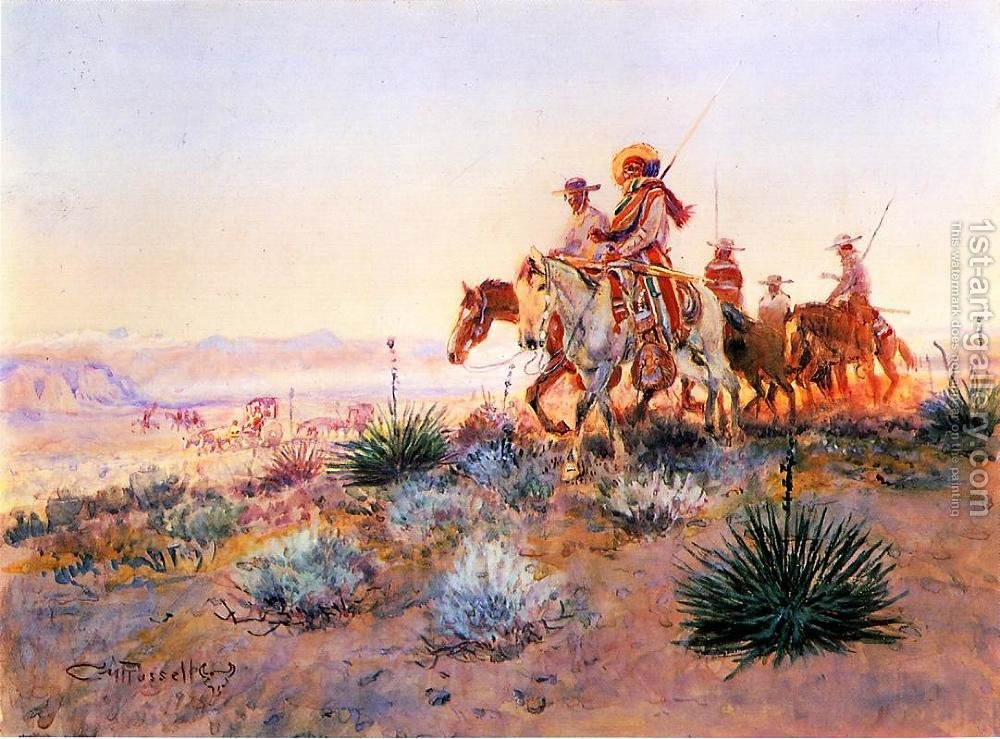 1000x739 Mexican Buffalo Hunters Charles Marion Russell Reproduction 1st