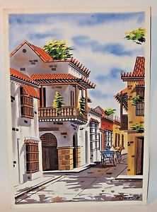 222x300 Doriall Watercolor On Paper Painting Of A Mexican Town Signed Ebay