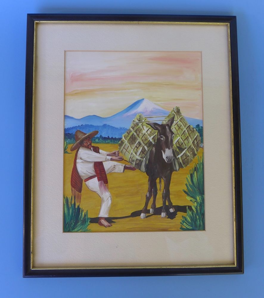 886x1000 Framed Vintage Mexican Watercolor Painting By Jesus 11 58 X 14 1