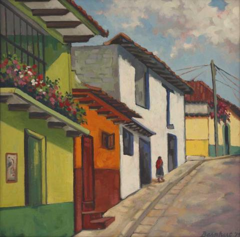 480x473 Mexican Street Original Oil Painting By Jeff Barnhart Wallspace