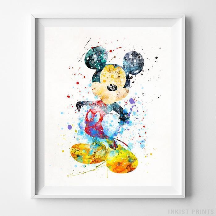 699x699 Mickey Mouse Type 2 Wall Art Disney Watercolor Poster Nursery Room
