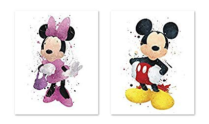 425x253 Mickey Mouse Inspired Watercolor Coloring Poster