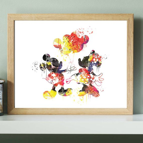 570x570 Disney Mickey Mouse Wedding Print,disney Mickey Minnie Watercolor
