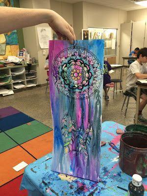 300x400 Dream Catchers Middle School Art Crayon, Wet On Wet Watercolor