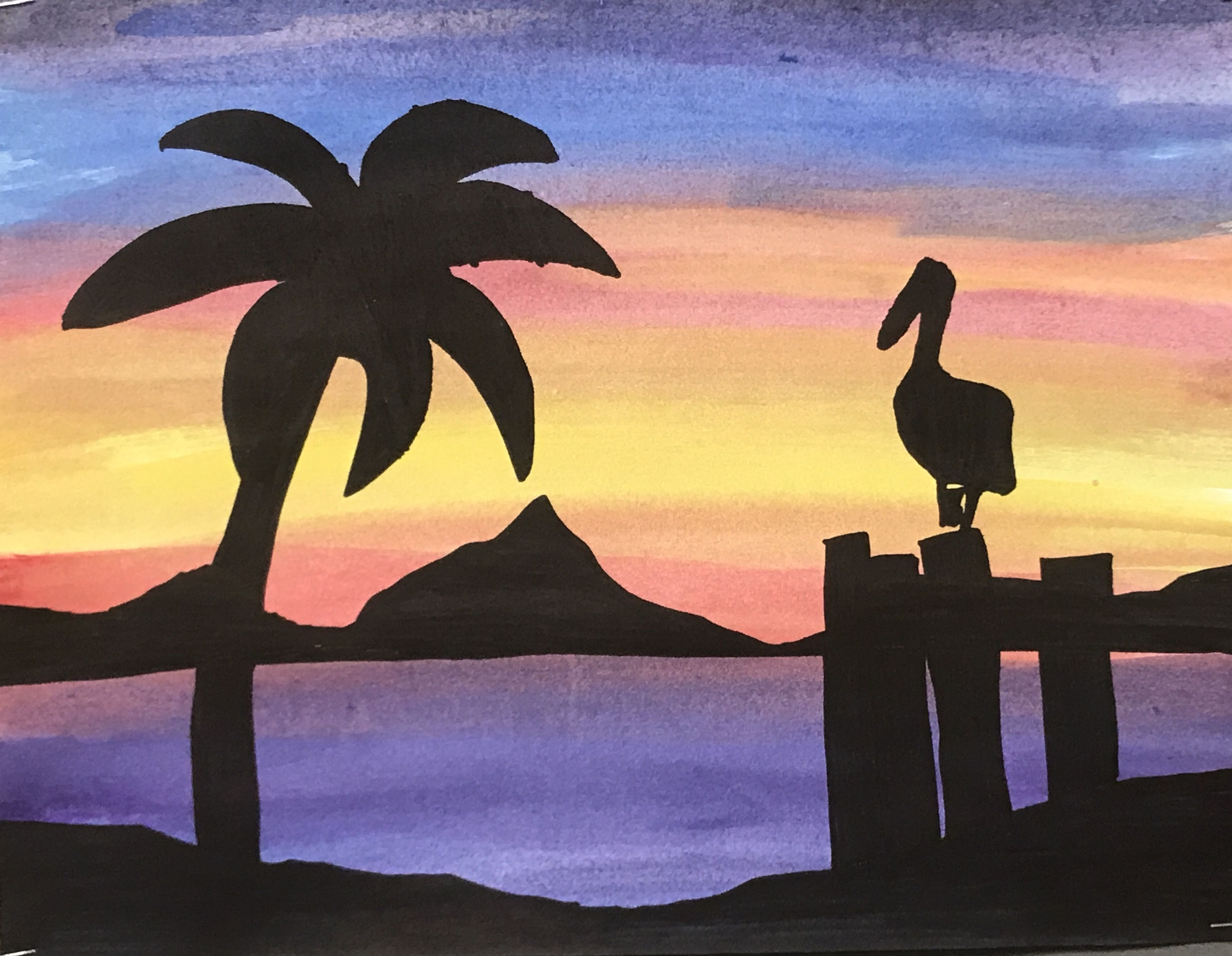 3422x2658 Middle School Watercolor Sunset Lesson