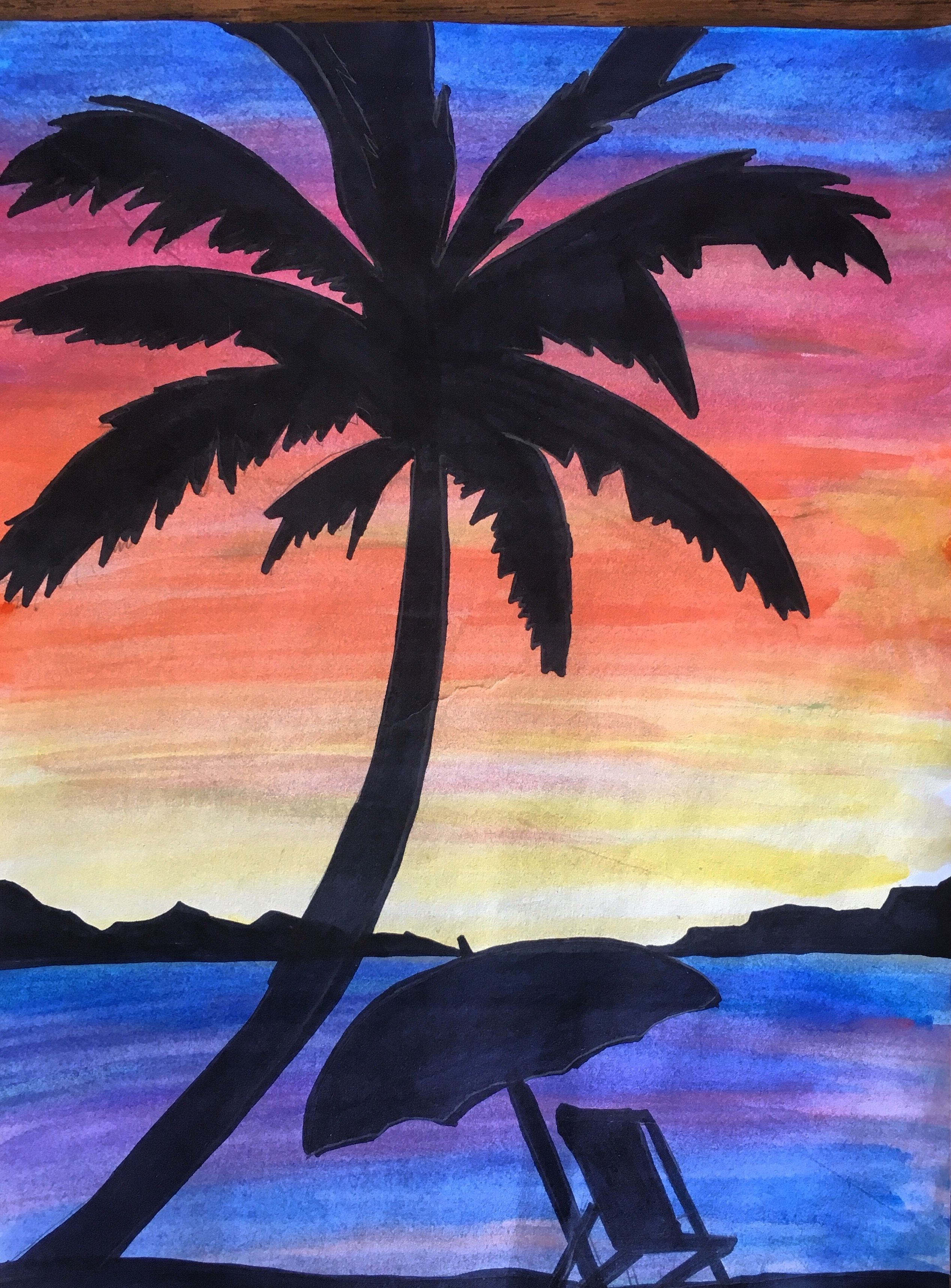 2534x3431 Middle School Watercolor Sunset Lesson