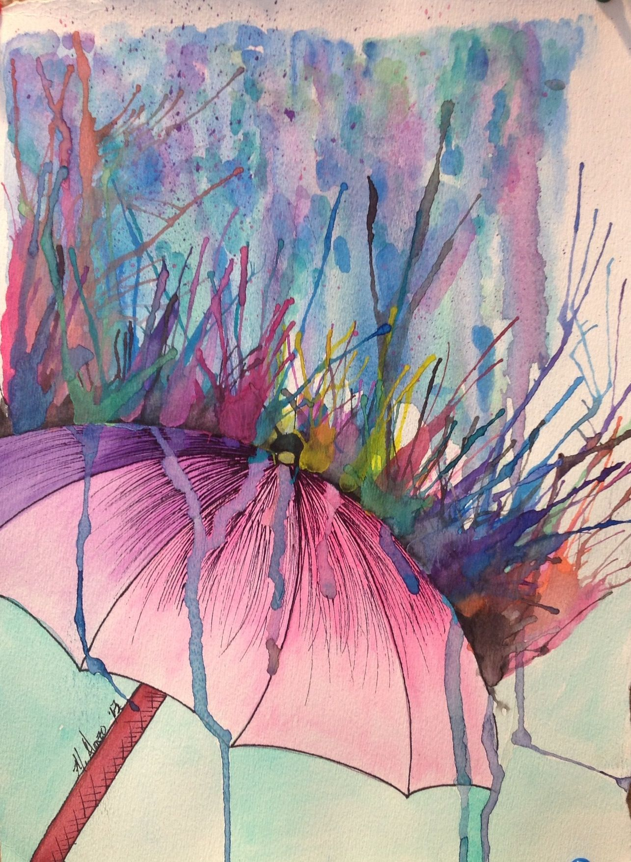 1285x1755 Watercolor Amp Ink. High School Painting Amp Mix Media. Student