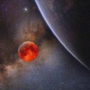 180x180 Milky Way Galaxy, The Blue Planet And Her Blood Moon Watercolor