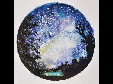 480x360 Milky Way Galaxy Watercolour Speed Painitng
