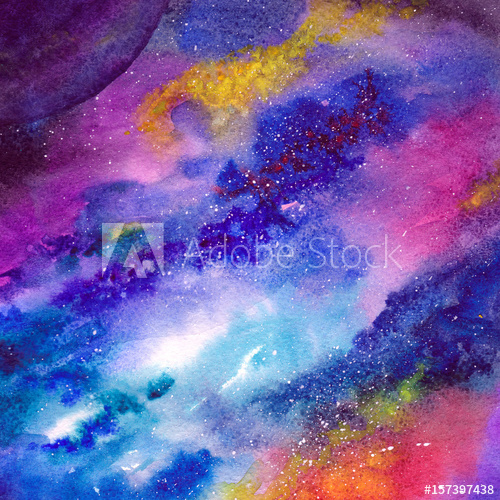 500x500 Space Background. Watercolor Art Background With Space, Stars