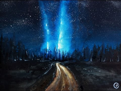 480x360 Watercolor Milky Way Night Sky Painting Demonstration