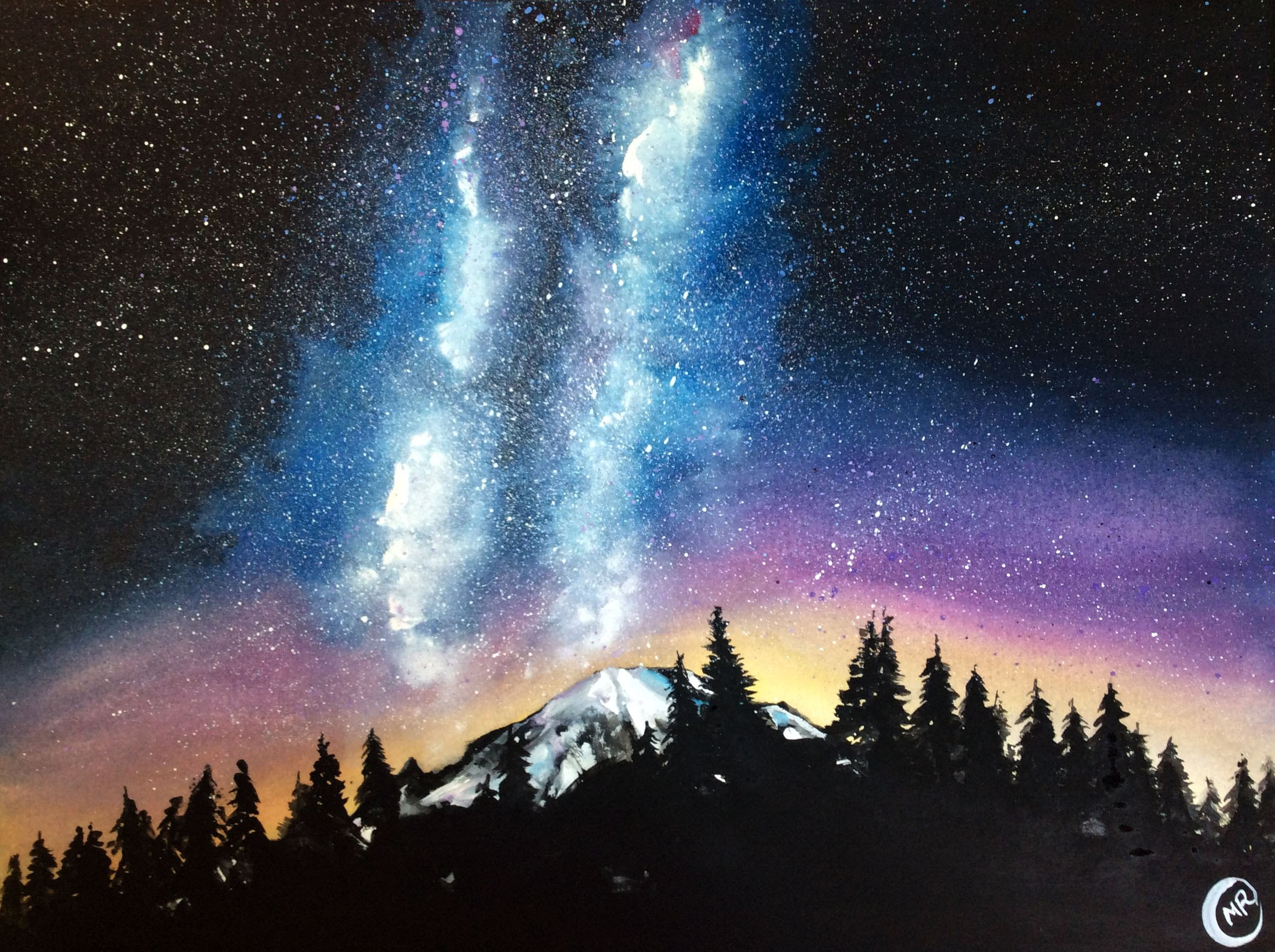 2412x1802 Watercolor Milky Way Painting Demonstration