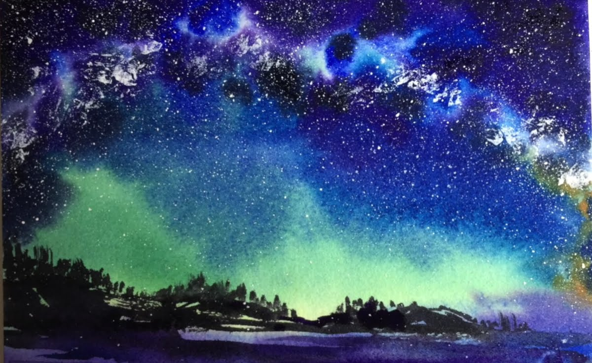 1200x737 Watercolor Milky Way Sky Painting Demonstration