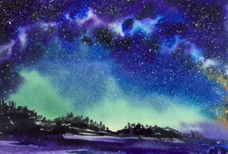 791x537 Watercolor Milky Way Sky Painting Demonstration Diverses