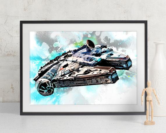 570x456 Millennium Falcon Star Wars Art Print Star Wars Art Fan Etsy