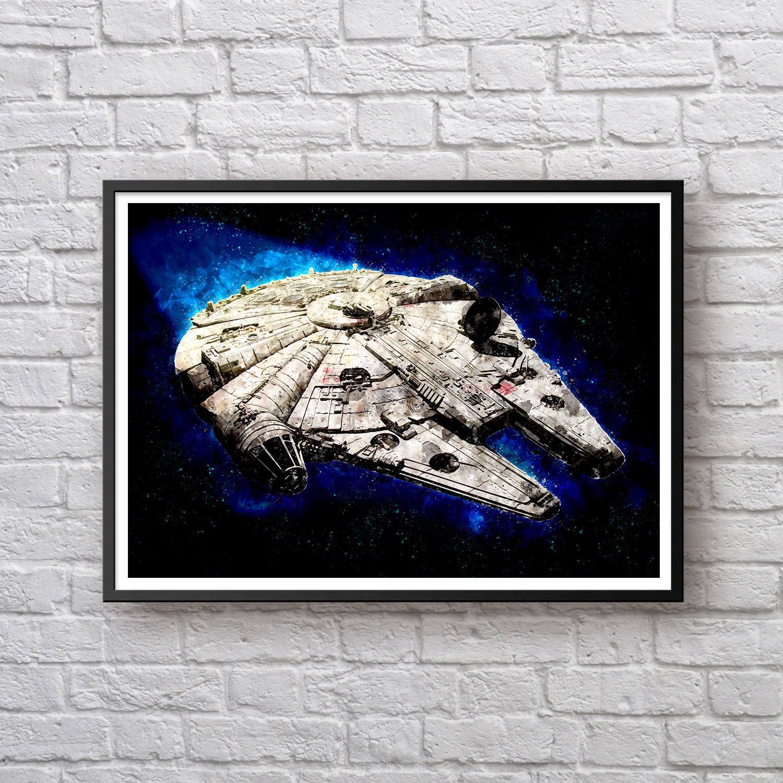 1500x1500 Millennium Falcon Star Wars Poster, Star Wars Movie Poster, Han