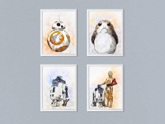 570x428 Set Of 4 Star Wars Print Wall Art Watercolor Painting Last Jedi