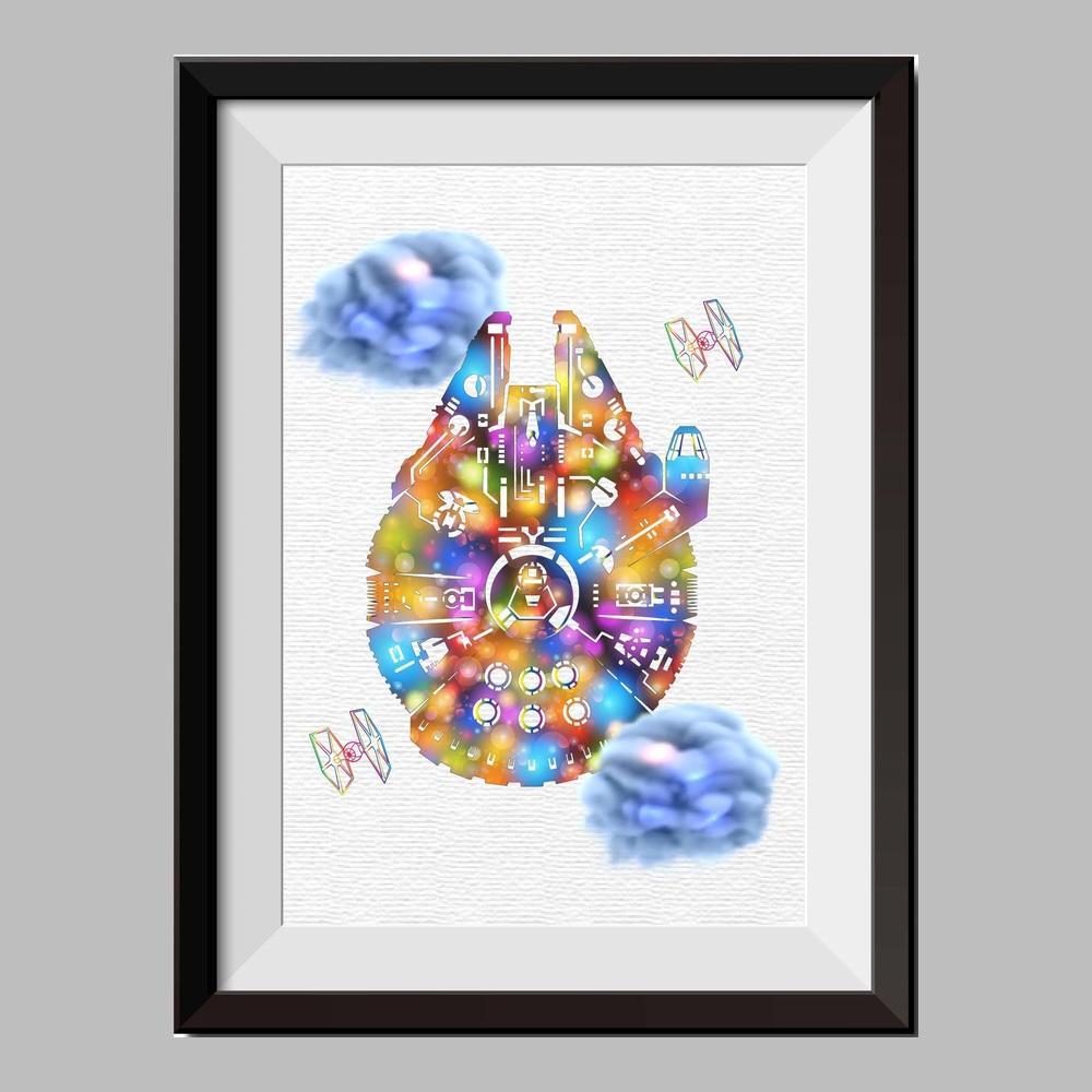 1000x1000 Star Wars Inspiredthe Millennium Falcon Watercolor Print Nursery