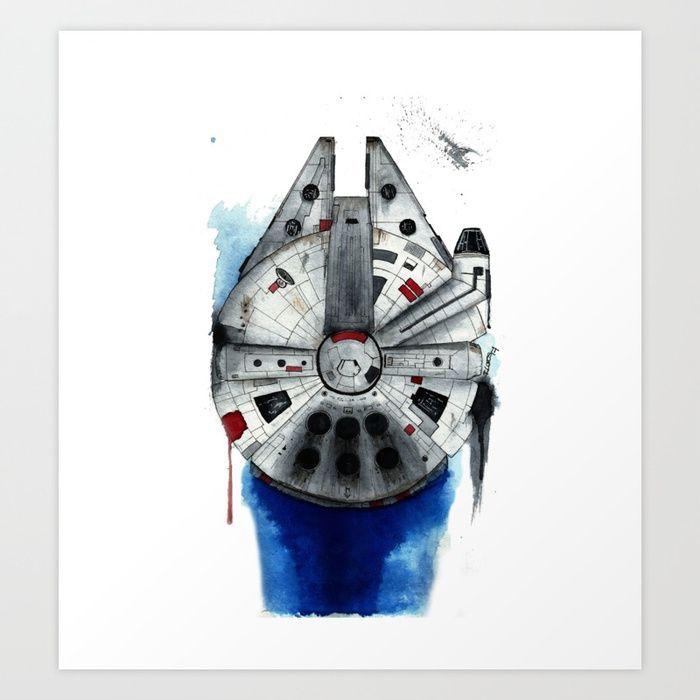 700x700 Millenium Falcon Space Star Wars Ship Han Solo Watercolor