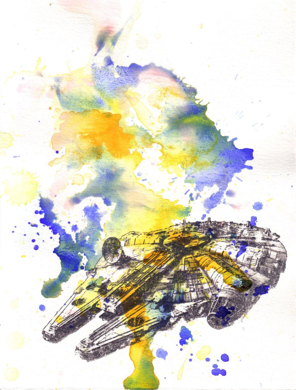 1139x1500 Millenium Falcon Watercolor Painting Star Wars