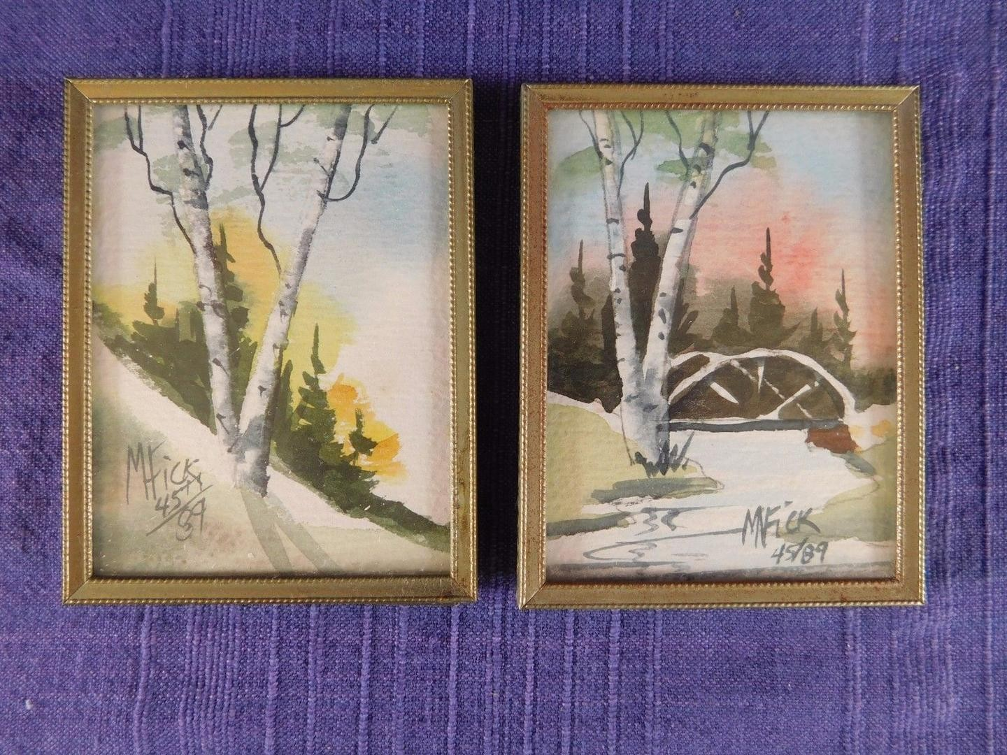 1440x1080 Pair Of Mary Noble Fick Miniature Watercolor Paintings, Framed