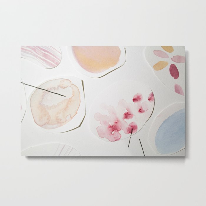 700x700 Minimalist Watercolor Collage Detail Ii Metal Print By Paremilie