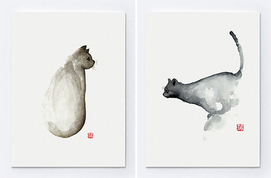 550x362 Modern Minimalist Watercolor Cat Portraits By Joanna Szmerdt