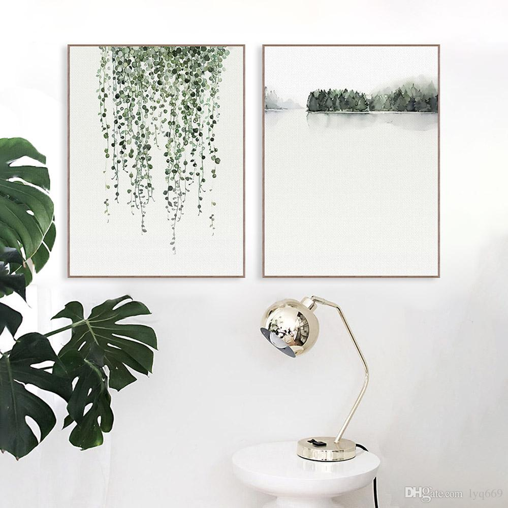 1000x1000 Online Cheap Nordic Minimalist Watercolor Green Plant Leaf Posters