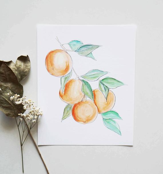 570x611 Oranges Modern Minimalist Watercolor Print Contemporary Etsy